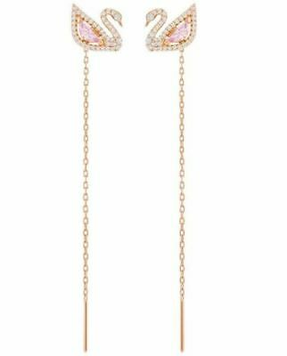 New 2019 Swarovski 5469990 Dazzling Iconic Swan Rose Gold Plated Chain Earrings