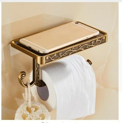 Antique Brass Bathroom Wall Mounted Toilet Paper Holder Roll Tissue Phone Holder