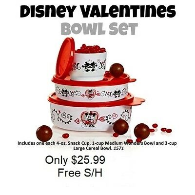 New Tupperware 3 pc Disney Bowl Set Container Valentine  Mickey Minnie Free S/H