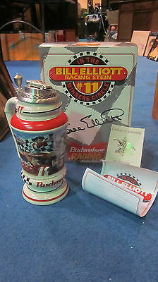 Signature Edition Bill Elliott Budweiser Racing Beer Stein / New In Box W/ Coa