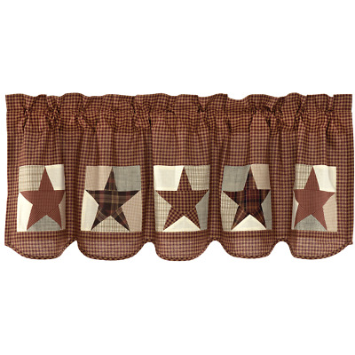 New Primitive Rustic Abilene HOMESPUN RUSTY STAR Patchwork Quilt Curtain Valance
