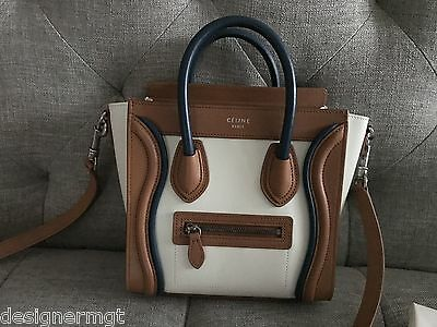 71387779b8 BNWT 100%AUTH Celine Dark Blue Ivory Camel TriColor Smooth Leather Nano Bag
