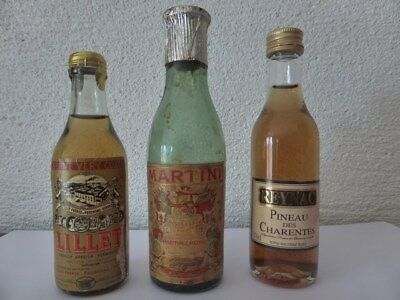 Apéritif Martini Lillet Reynac lot de 3 mignonnettes collection old mini bottle