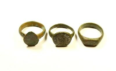 Lot Of 3 Large Roman Decorated Wearable Rings - Great Artifacts