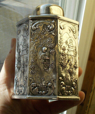 """RARE Vintage 5"""" Antique Silverplate Oriental Tea Caddy Chinese Temple Figural NR"""