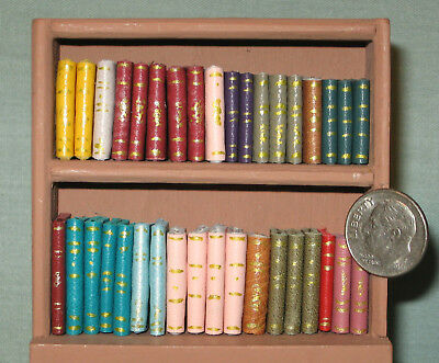 36 Miniature Dollhouse Handmade Leather Books 1 Inch Scale - 1:12 SC. PASTELS