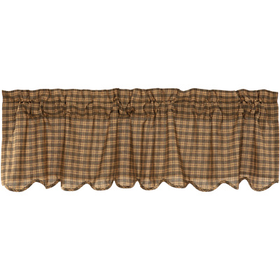 "New Primitive Rustic Cabin Lodge CEDAR RIDGE GREEN PLAID Valance Curtains 72"" W"