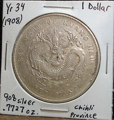Year 34 (Western Date 1908) Silver One Dollar Coin from Chihli Province, China