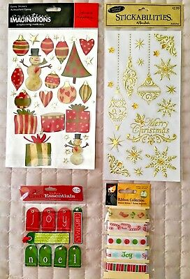 NEW Lot 4 Sets Embellishments HOLIDAY Emboss, Foil, Epoxy, Stickers,Tags, Ribbon