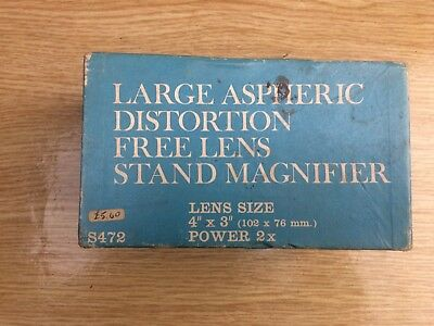 Large boxed aspheric distortion free lens stand magnifier,lens size 4x3 inches