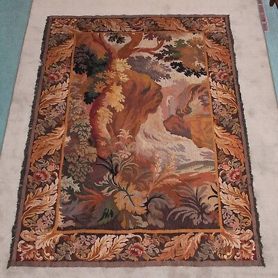 French AUBUSSON Antique 19th.c. Handwoven Vertical Tapestry Good Condition