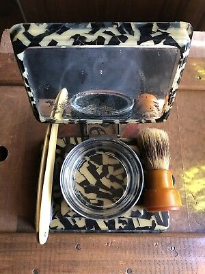Antique Vintage Bakelite Travel Shaving Kit Ever-Ready Brush Bowl Razor