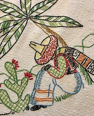 Vintage Embroidered Mexican linenTablecloth with Lace 1940's-50's