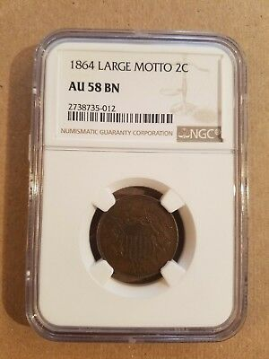 1864 Large Motto Two Cent Cents Piece 2C NGC AU58 BN Brown BEAUTIFUL COIN!