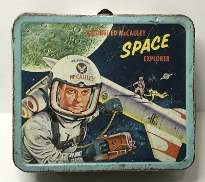 Vintage Space Explorer Colonel Ed Mccauley Metal Lunch Box 1960 by Aladdin U.S.A