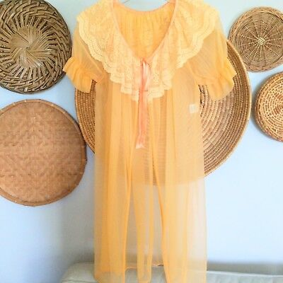 Vintage Nylon Lingerie Nightie Nightgown Large Silk Tie Up Cover Made In USA