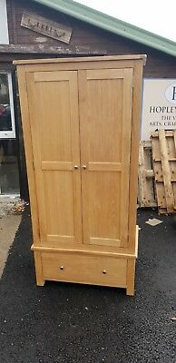 Slim Oak 2 Door Wardrobe With Drawer Delivery Avail
