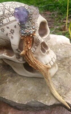 WOLF MOON LUNAR ECLIPSED CHARGED MAGICK DEER ANTLER & QUARTZ WITCH WAND wicca