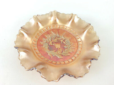 Antique Dugan Glass Co. marigold carnival glass bowl, WINDFLOWER c.1905
