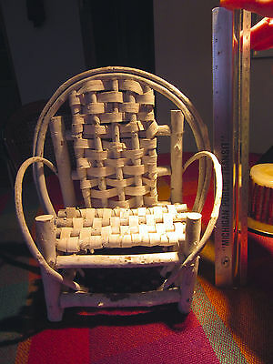"Vintage Minitaure White Wicker Bentwood Cottage Chair, ""10 Tall"