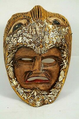 Wood Hanging Aztec Warrior Mask w Milagros Mexican Folk Art Hand Tooled New