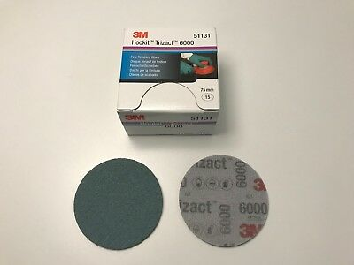New 1x Box of 3M Trizact Hookit Self-adhesive Finishing 15Discs 51131 75mm P6000