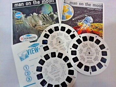 "Man on the Moon ""Project Apollo"" - View Master Complete 3 Reel Packet B-658 1964"
