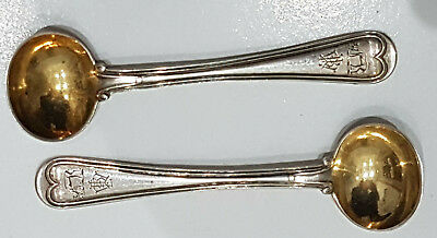 Pair Solid Silver Salt/Condiment spoons George Angell London 1870 29grams, Crest