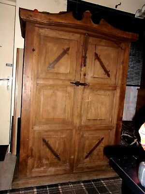 OLD  VERY  VERY  OLD    cupboard    and   wardrobe  with   iron  fittings
