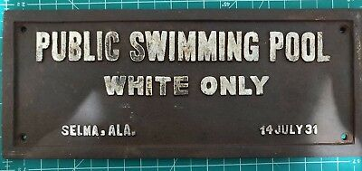 Black Segregation Sign Public Swimming Pool White Only Cast Iron