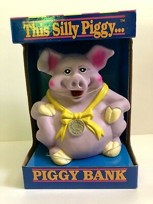 Retro 1992 Happiness Express This Silly Piggy Bank Purple Plastic Toy Pig