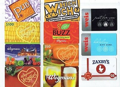 Collectible Gift Card - YOU CHOOSE 3 for $1.59 - Food - Wegmans, Weis, Holiday