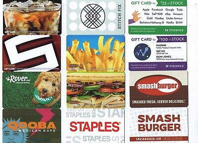 Collectible Gift Card - YOU CHOOSE 3 for $1.59 - Smash Burger, Sheetz, Staples