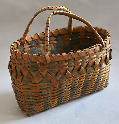 Very Early Northeast Algonkian Basket 1860-1880 Scaticook Or Mohegan Mohican