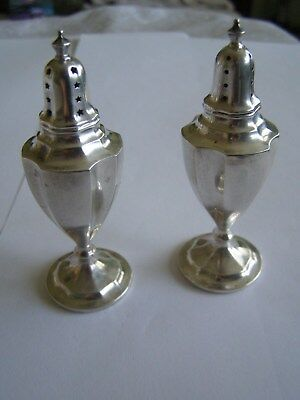International Sterling Salt and Pepper Shakers with Original Plugs Not Weighted