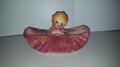American Bisque Usa Pottery Southern Belle Girl Lady Pink Double Planter