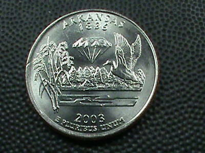 UNITED STATES  25 Cents  2003 D  UNC  ARKANSAS  , $ 2.99 maximum shipping in USA