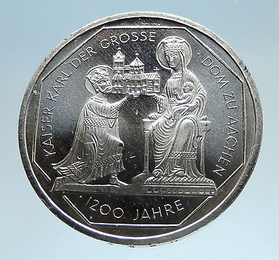 2000 Germany CHARLEMAGNE Aachen Madonna Cathedral Genuine 10M Silver Coin i74935