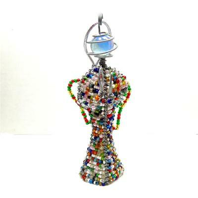 Handmade South African Bead Wire Angel Ornament, Multicolor 3D Praying Hands