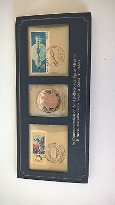 Commemorative Coin and Stamps Apollo-Soyuz Space Mission 1975