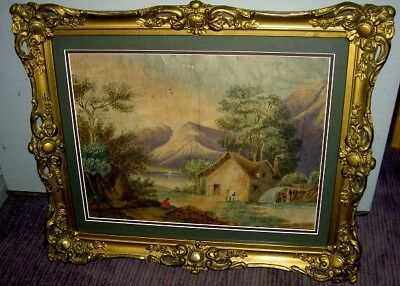 Early American Naive Landscape Painting Mid 1800's_Schrewsbury Museum Collection