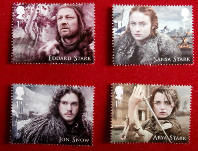 Game of Thrones: HOUSE STARK - Set of 4 FIRST CLASS ROYAL MAIL STAMPS - MINT