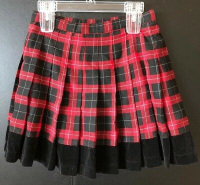 Girls Suze 12 LIMITED TOO Red Black White Plaid Skirt