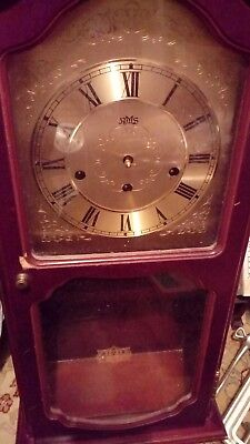 Vintage Wall Clock. Dark Wood With Westminster Chimes Movement, Brass Clock Face