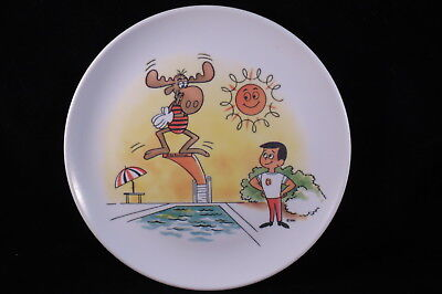 "Vintage 1960s Melmac Bullwinkle & Cheerios Kid 8"" Childs Plate,Jay Ward Prod.,"