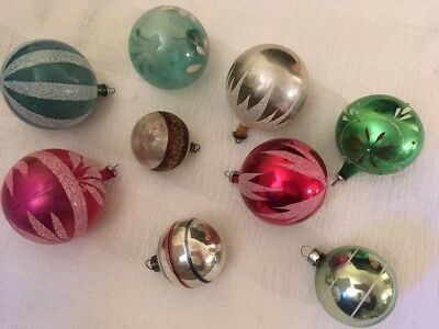 Lot 9 Vintage Medium Glass Ball Christmas Ornaments Mica Hand Painted etc