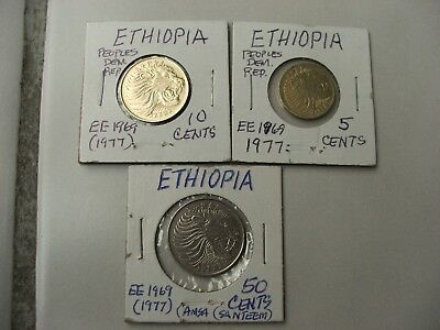 (3) ETHIOPIA EE1969 (1977) 5,10,50 Cents- Peoples Dem.Rep.1 yr.Issues-Lion Heads