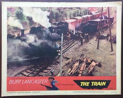 Nazi soldiers gather at tracks by train wreck The Train 1965 # 7 lobby card 2289