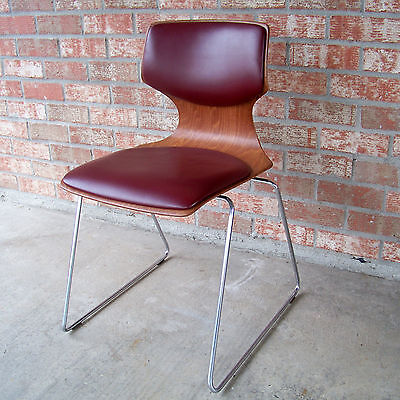 Flottoto Mid Century Modern Bent Plywood Cushion Stacking Chair LOCAL PICKUP