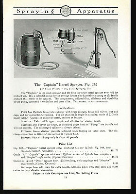 1918 Deming Sprayers Co Catalog Page Ad Captain Barrel Sprayer Salem Ohio
